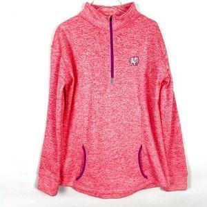 Ivory Ella Marled Pink Half Zip Fleece Pullover